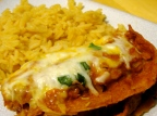 Layered Chicken Enchiladas & Spanish Rice