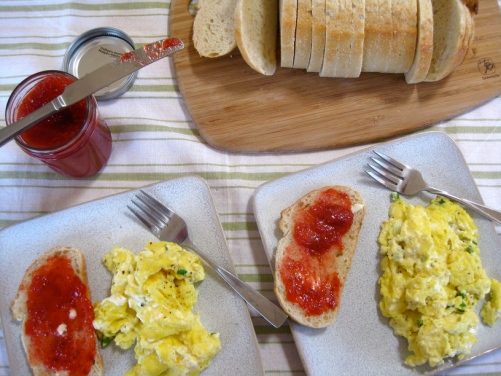Stawberry Jam for breakfast with scrambled eggs and toast