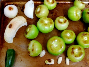 Roasted Tomatillos, Onion, Jalapeño, and Garlic