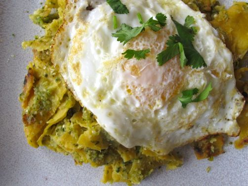 Chilaquiles Verdes with Roasted Tomatillo Salsa and a Fried Egg