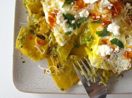 Chilaquiles Verdes with Roasted Tomatillo Salsa and Queso Fresco