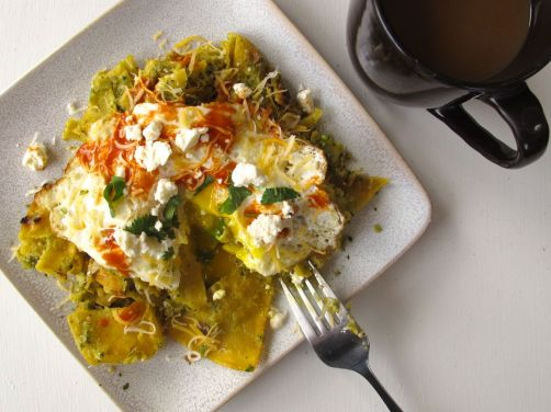 Chilaquiles Verdes with Roasted Tomatillo Salsa, Queso Fresco, and a Fried Egg