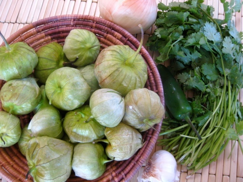 Tomatillos, Cilantro, and other ingredients for Chilaquiles Verdes