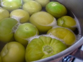 Tomatillos change to a yellowish-green when cooked