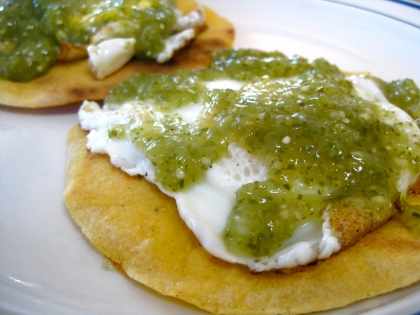 Huevos Rancheros with tomatillo salsa