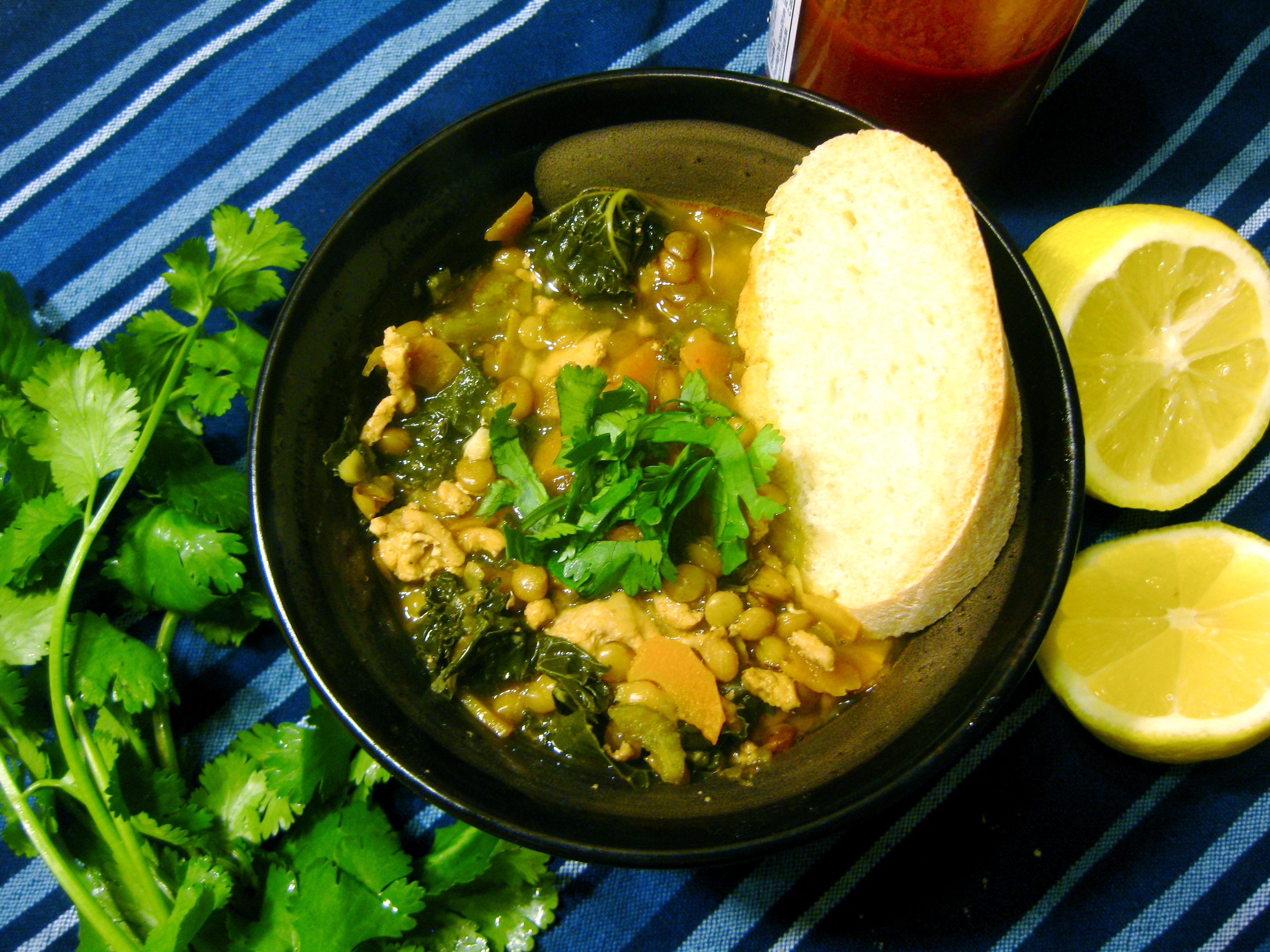 Turkey Lentil Soup with Kale spontaneous tomato