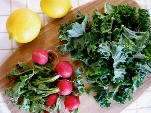 Ingredients for Toasted Orzo with Kale, Feta, and Radishes