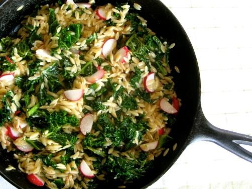 Toasted Orzo with Kale, Feta, and Radishes