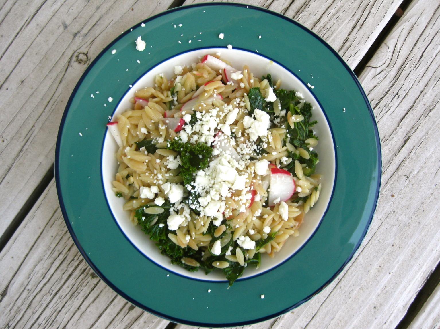 Toasted Orzo with Kale, Feta, and Radishes | spontaneous tomato