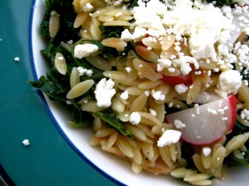 Toasted Orzo with Kale, Feta, and Radishes