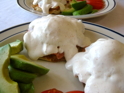 Eggs Benedict with Greek Yogurt Hollandaise Sauce