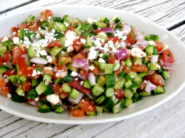 Shepherd's Salad with Cucumber, Tomato, Red Onion, and Feta
