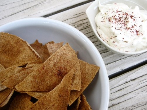 Homemade Pita Chips with Labne Olive Oil Dip