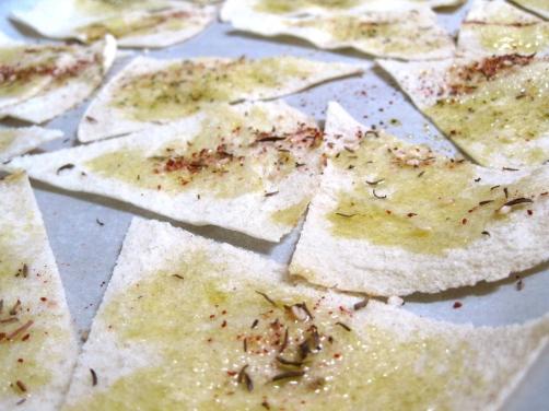 Making Pita Chips with Za'atar