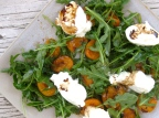 Grilled Apricots with Arugula and Burrata