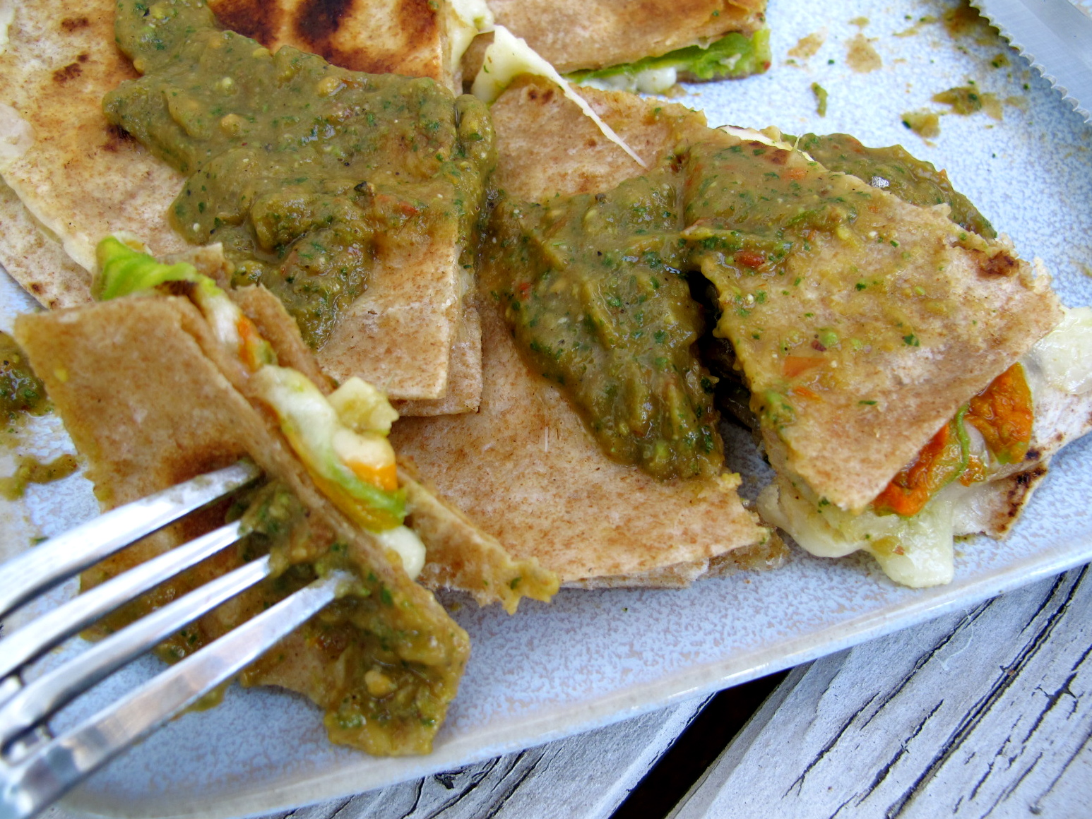 Squash Blossom Quesadillas With Bacon And Tomatoes Recipe — Dishmaps