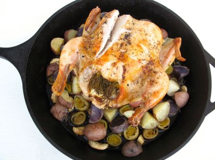 Whole Roasted Chicken with Purple Potatoes, Parsnips, and Leeks