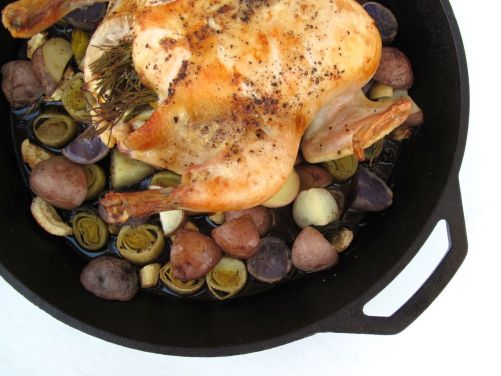 Whole Roasted Lemon Rosemary Chicken with Root Vegetables