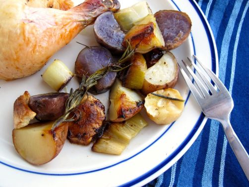 Roasted Chicken with Purple Potatoes, Parsnips, and Leeks