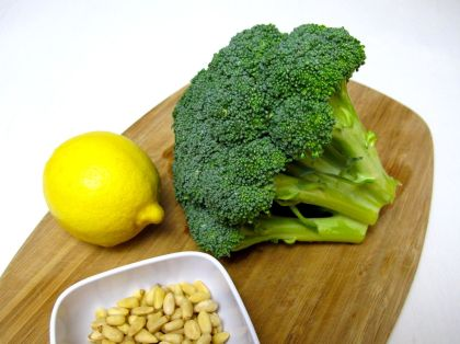Ingredients for Lemon Roasted Broccoli with Pine Nuts