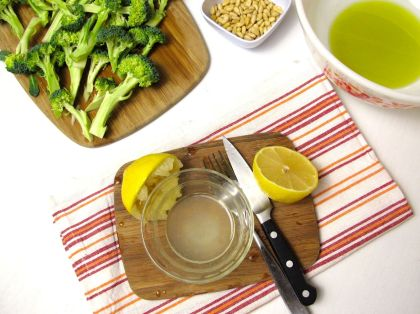 Making Lemon Roasted Broccoli with Pine Nuts