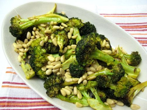 Lemon Roasted Broccoli with Pine Nuts