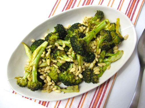 Lemon Roasted Broccoli with Pine Nuts