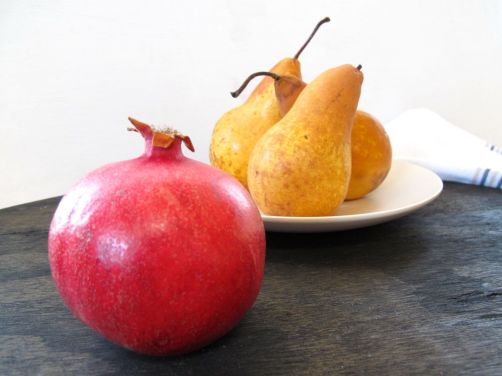 Pomegranate and bosc pears for a fall salad