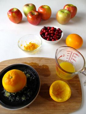Juicing oranges for Skillet Cranberry Apple Crisp (Gluten-Free)