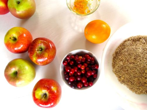 Ingredients for Skillet Cranberry Apple Crisp (Gluten-Free)