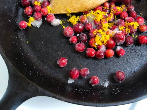 Cranberries and orange zest for Skillet Cranberry Apple Crisp (Gluten-Free)