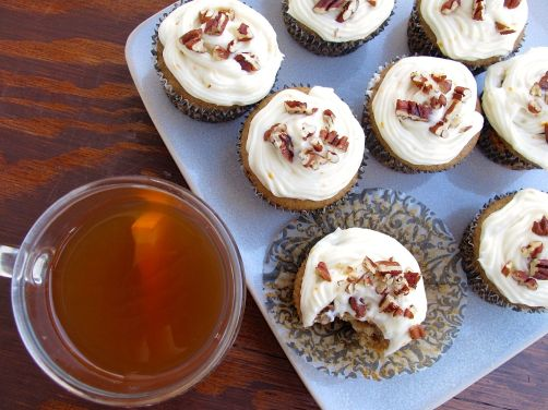 Spiced Apple Cider Cupcakes with spiced cider frosting and pecans