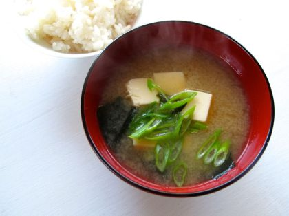Miso Soup with wakame seaweed, tofu, and scallions