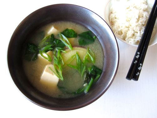 Hearty Miso Soup with spinach, tofu, and Japanese sweet potato