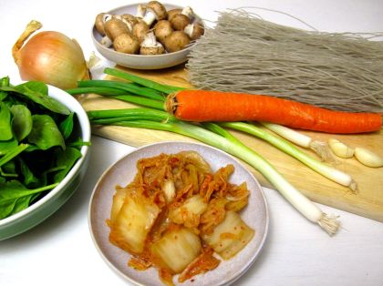 Ingredients for Jap Chae with Kimchi