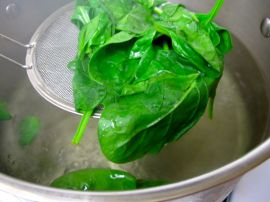 Boiling spinach for Jap Chae with Kimchi
