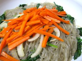 Making Jap Chae with Kimchi