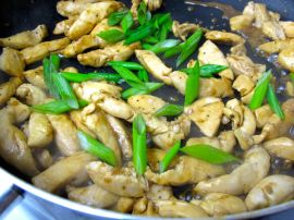 Chicken and scallions for Jap Chae with Kimchi