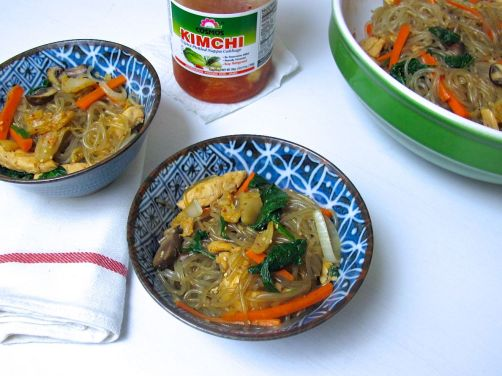 Jap Chae with Kimchi (Korean gluten-free noodles with stir-fried vegetables, chicken, and kimchi)