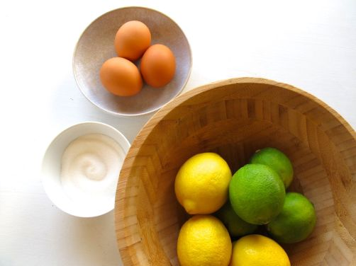 Ingredients for Zesty Lemon Lime Bars: eggs, sugar, lemons, limes
