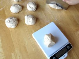 Weighing the dough for Maple Cinnamon Bagels