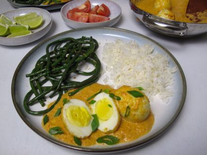 Sambal Goreng Telur (Indonesian Egg Curry) with Chinese Long Beans