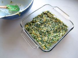 Making Spinach Cheese Mini Quiche Squares
