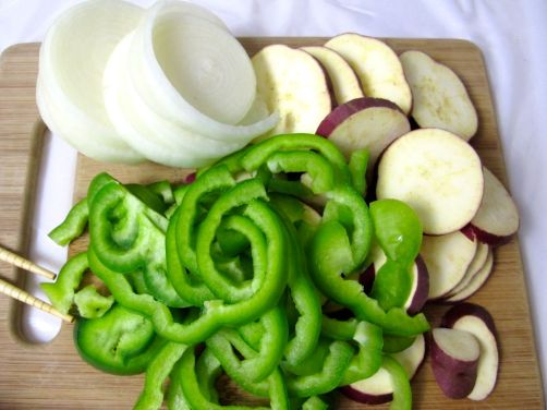 Japanese sweet potato, green bell pepper, and onions for yaki-niku