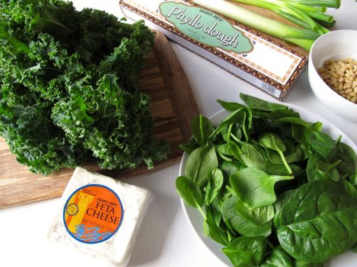 Ingredients for Spanakopita - Baked Phyllo Dough with Spinach, Feta, and Kale