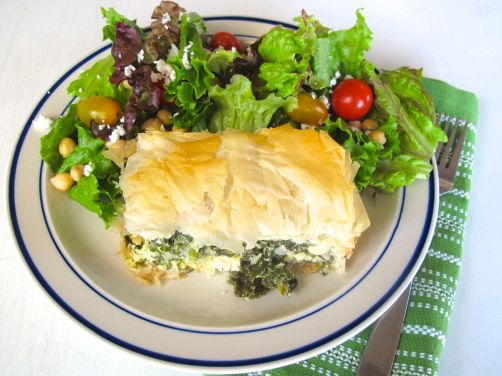 Spanakopita - Baked Phyllo Dough with Spinach, Feta, and Kale