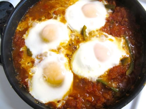 Parsi tomato poached eggs spontaneous tomato parsi tomato poached eggs with green bell pepper like shakshouka forumfinder Choice Image