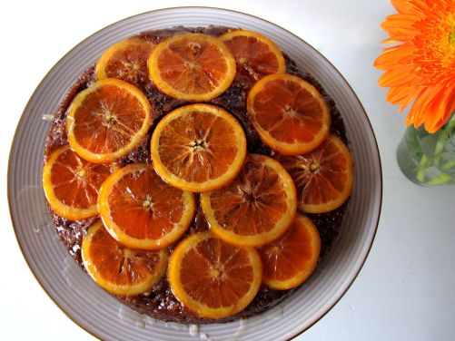 Cara Cara Orange Chocolate Cake with Polenta, Greek Yogurt, and Candied Orange Slices