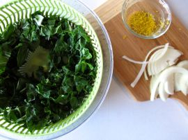 Swiss Chard and Lemon Zest for Chicken Tagine with Chickpeas, Chard, and Dried Figs