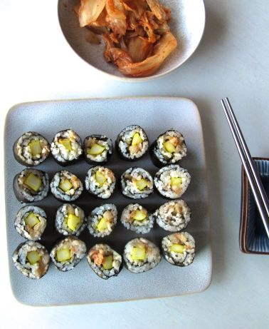 Kimchi Kimbap and Easy Pickled Cucumber Banchan